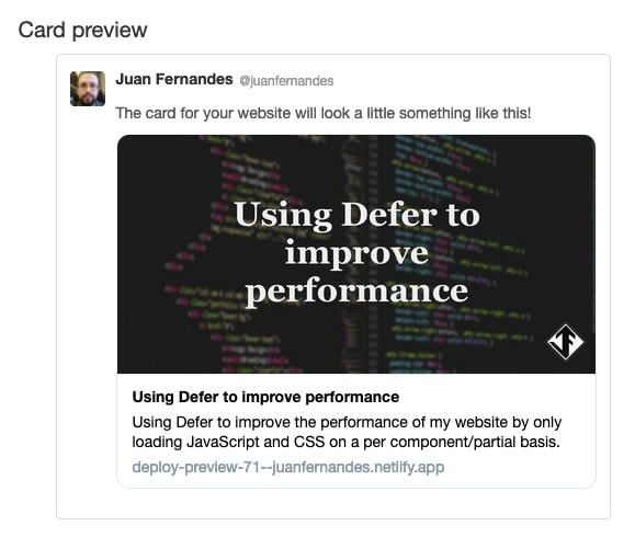 Image showing the twitter card preview tool