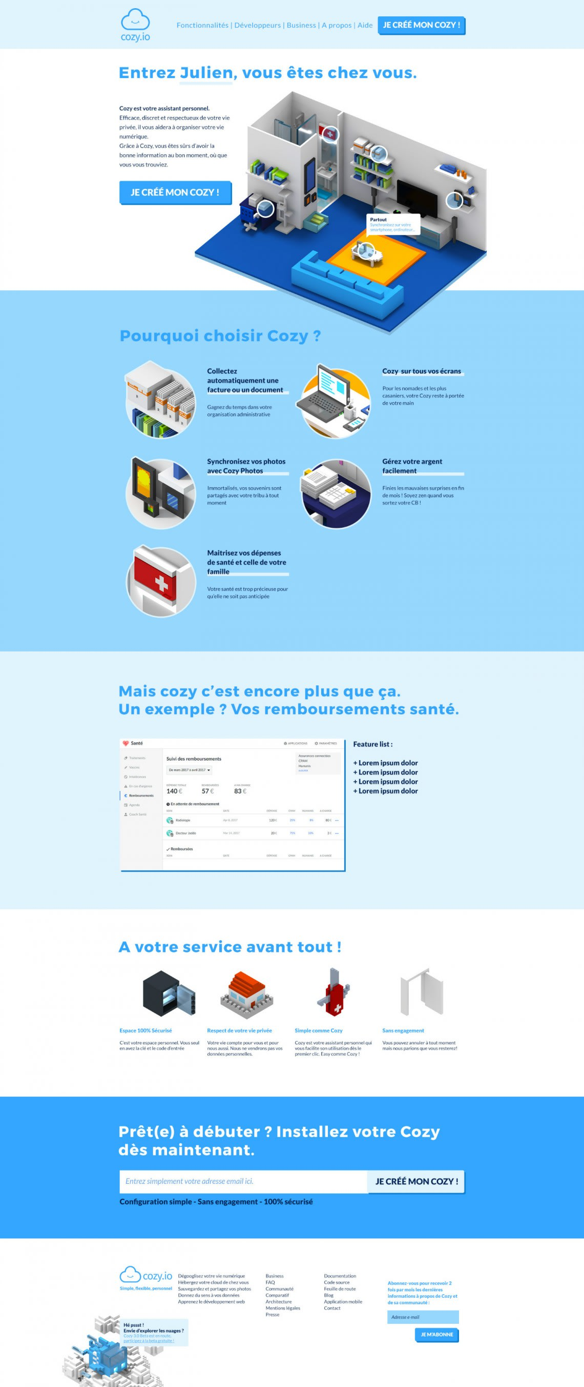 Site internet et emailing Cozy Cloud Conception,Direction Artistique,Voxel,3D,Illustration,Accompagnement,Webdesign,Social Media
