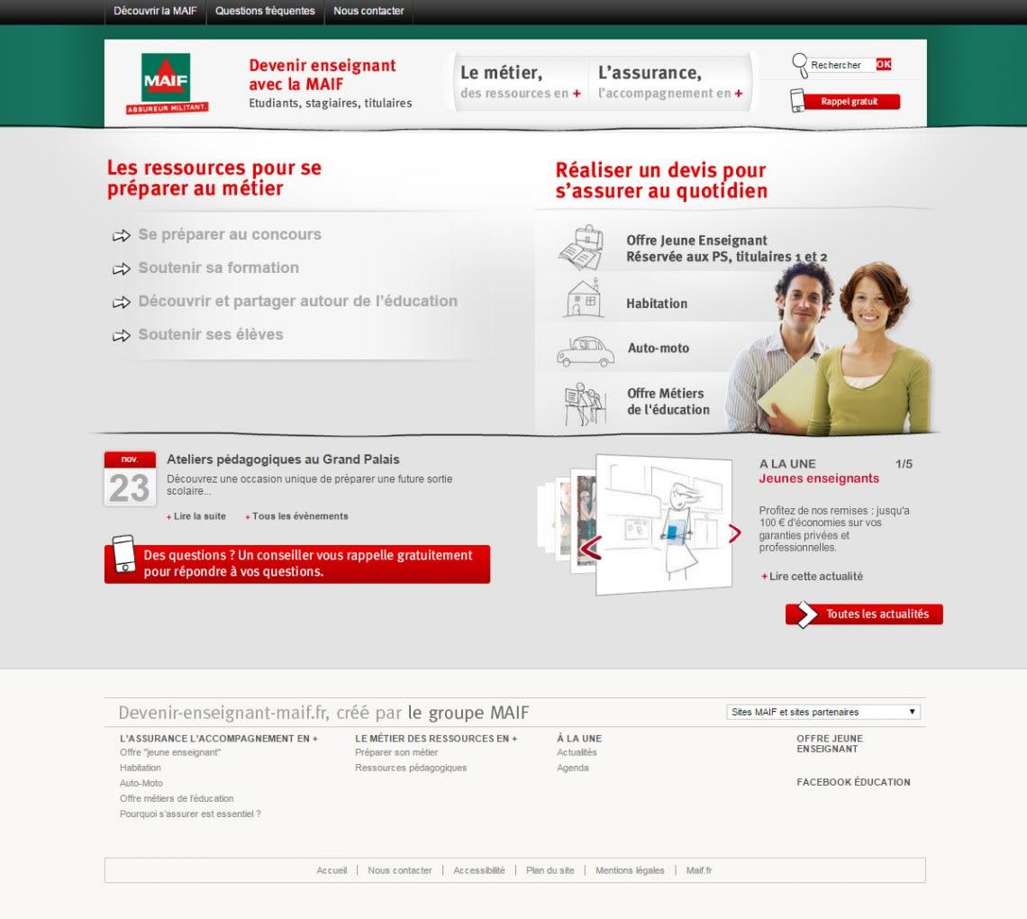 Sites satellites MAIF Conception,Direction Artistique,UX,Webdesign