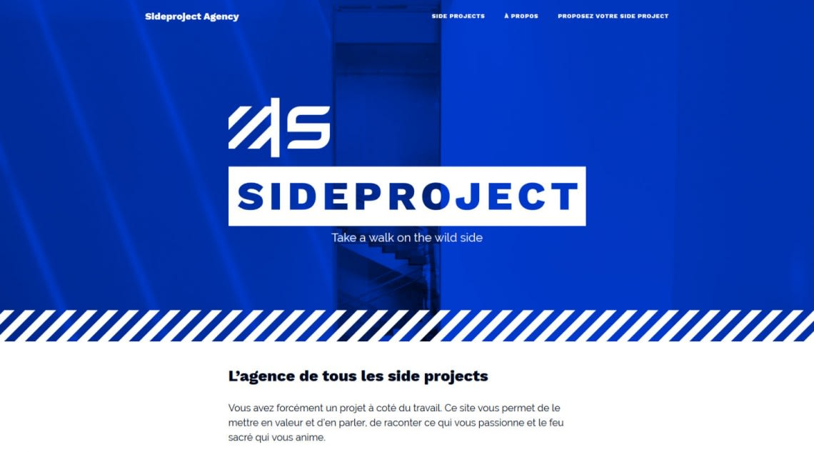 Sideproject agency Conception,Direction Artistique,Logo,Webdesign,Identité,Intégration,Kirby,Rédaction