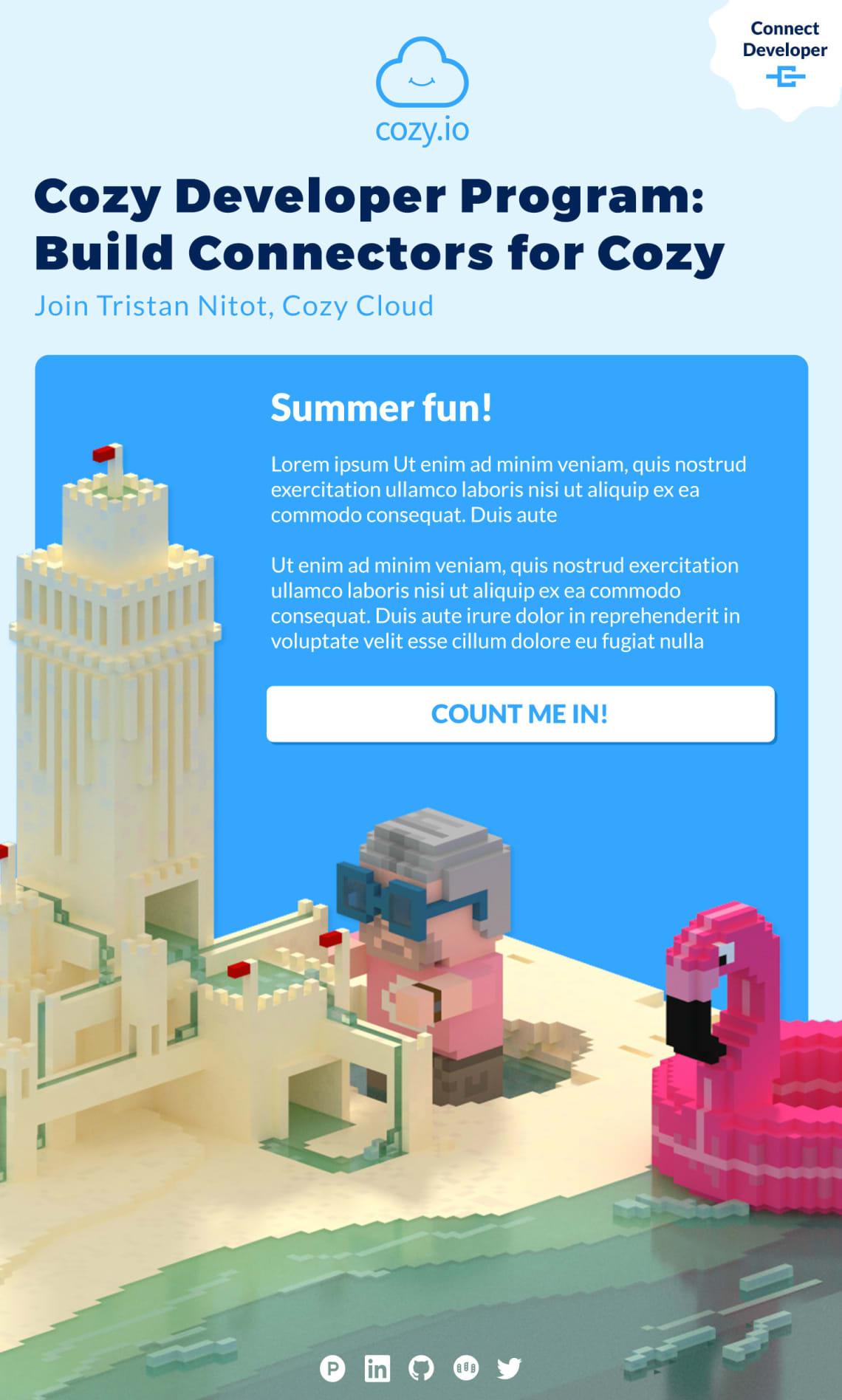 Site internet et emailing Cozy Cloud Conception,Direction Artistique,Voxel,3D,Illustration,Accompagnement,Webdesign,Social Media