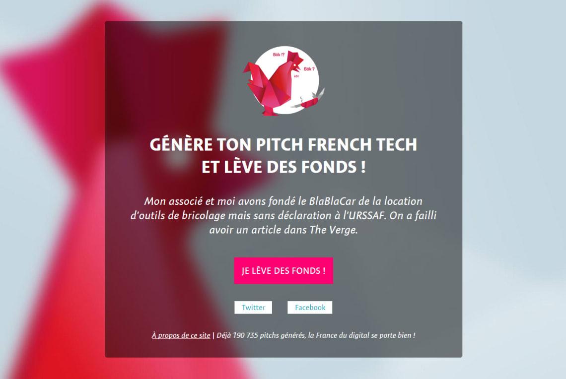 Générateur de pitch Frenchtech Conception,Direction Artistique,Rédaction,Social Media