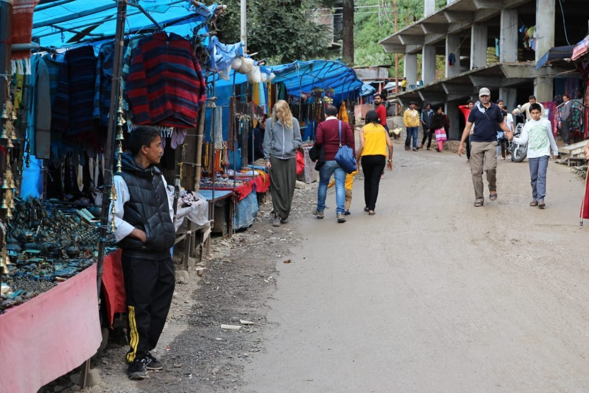 Street vendors in front of the Dalai Lama's home in Dharamshala India