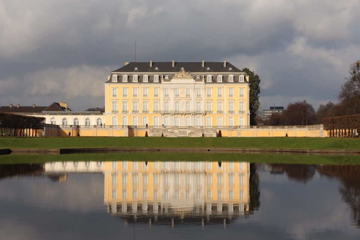 The Augustusburg Palace in Brühl Germany with reflection pool