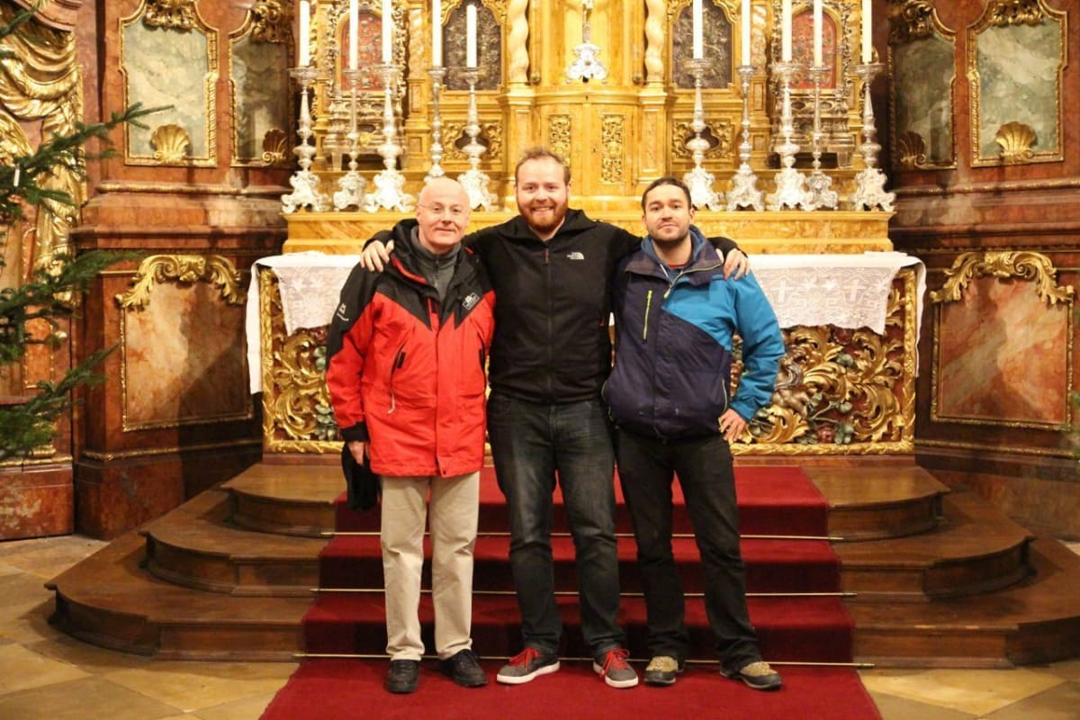 My friend Martin and I with Father Stephan of the Niederaltaich Abbey