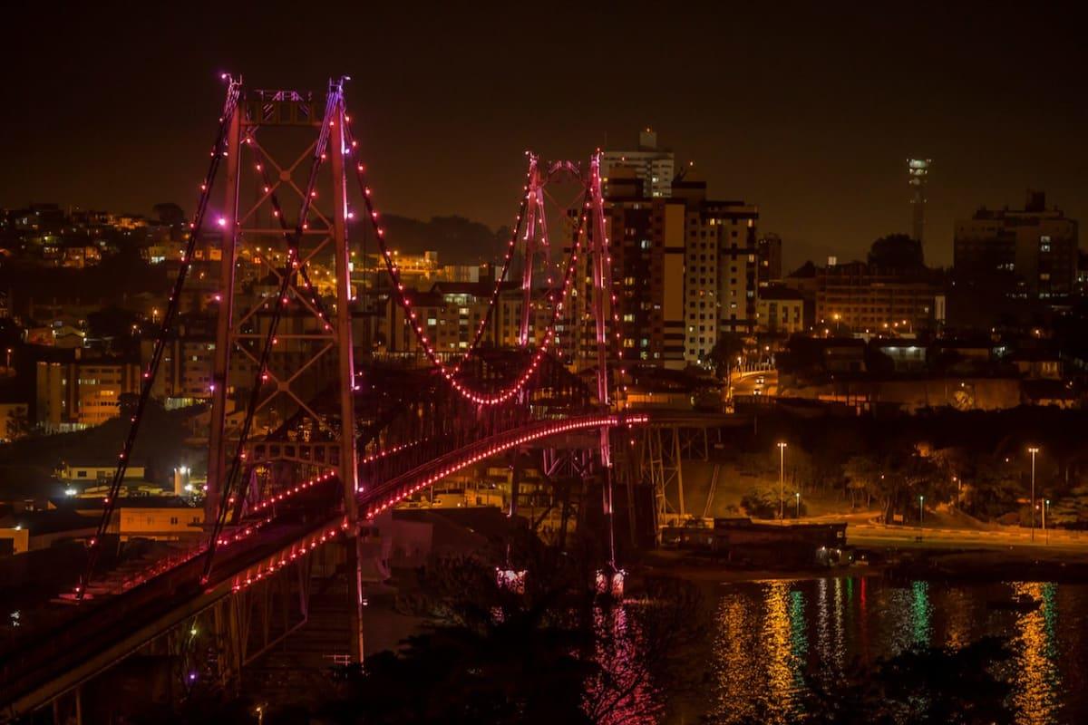 Florianopolis, Santa Catarina, Brazil, Hercilio Luz Bridge at night