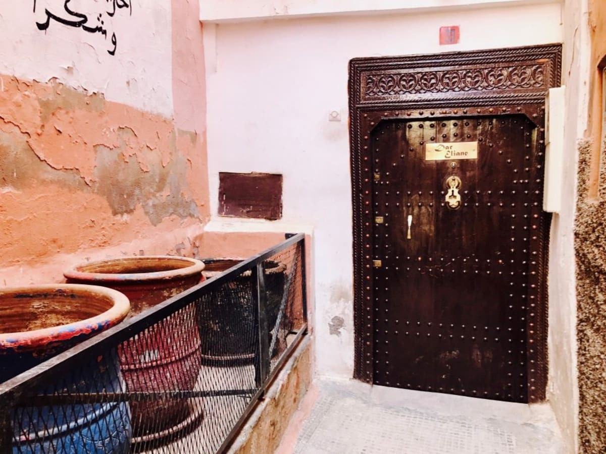 Front door of a riad in Morocco