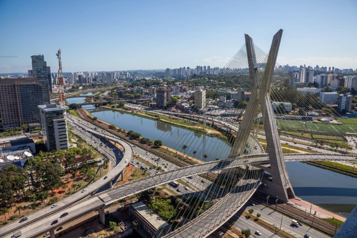 The Octavio Frias de Oliveira bridge is a cable-stayed bridge in São Paulo, Brazil