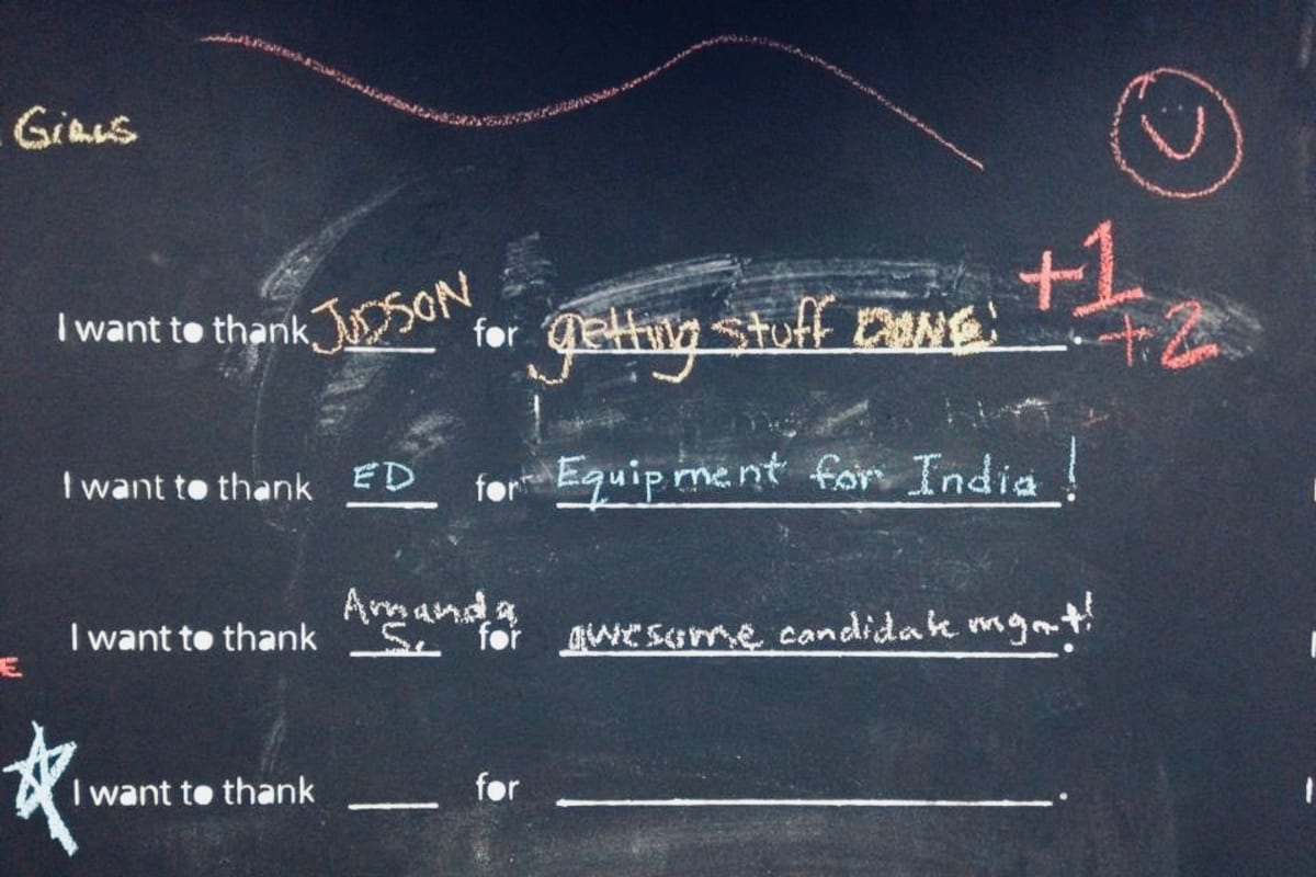 The Thanks Wall at Mutual Mobile.