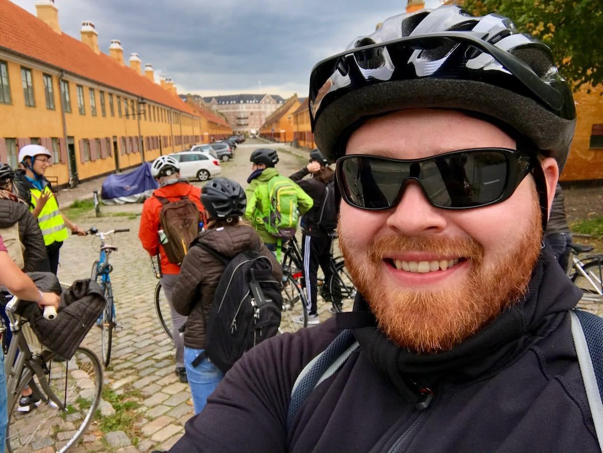 My Copenhagen bike tour group at the old barracks