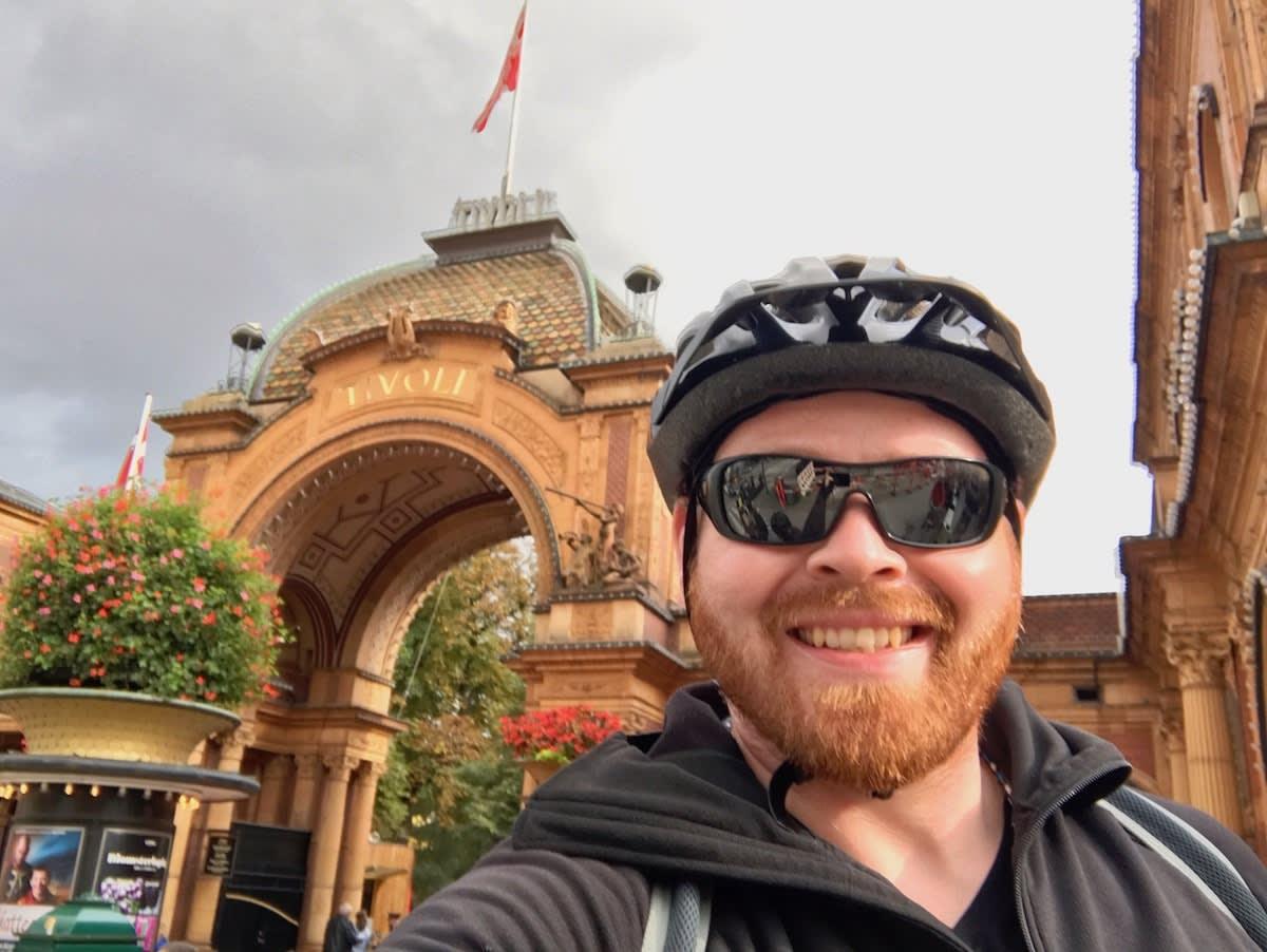 Biking in front of Tivoli, the world's 2nd oldest amusement park