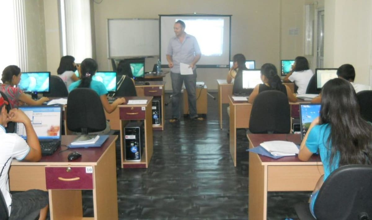 Judson provides computer training to students in Bishkek.
