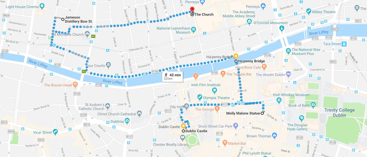 A walking map of things to do in Dublin between Dublin Castle and the Jameson Distillery on Bow. St.