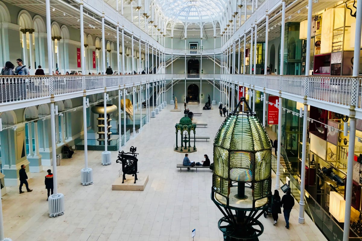 The atrium of the National Museum of Scotland in Edinburgh.