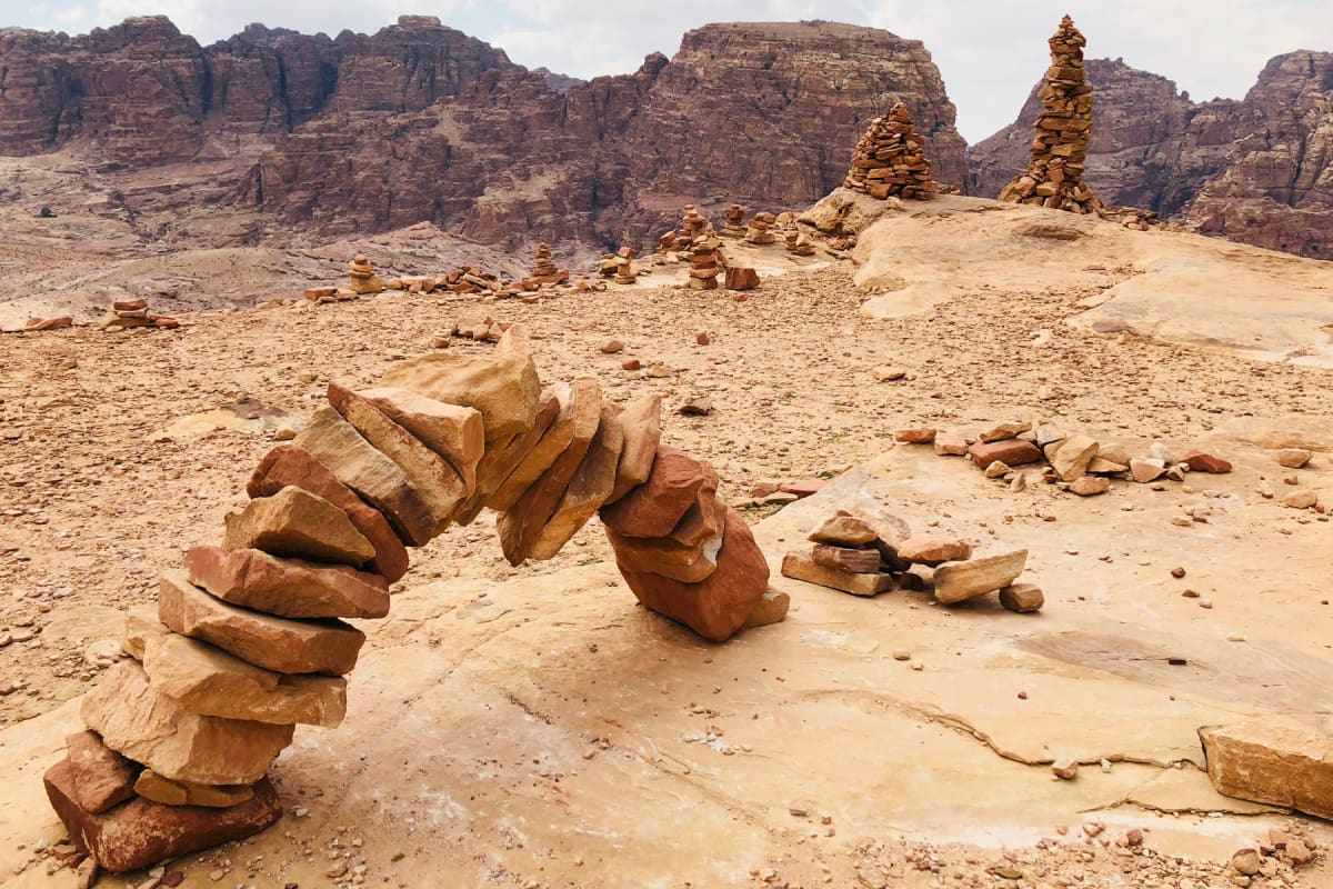 Stacked stones on the route of the High Place of Sacrifice Trail in Petra
