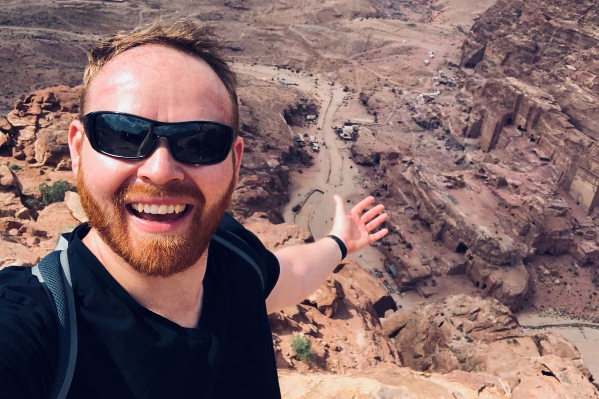 A selfie with The Royal Tombs of Petra, taken from atop the High Place of Sacrifice
