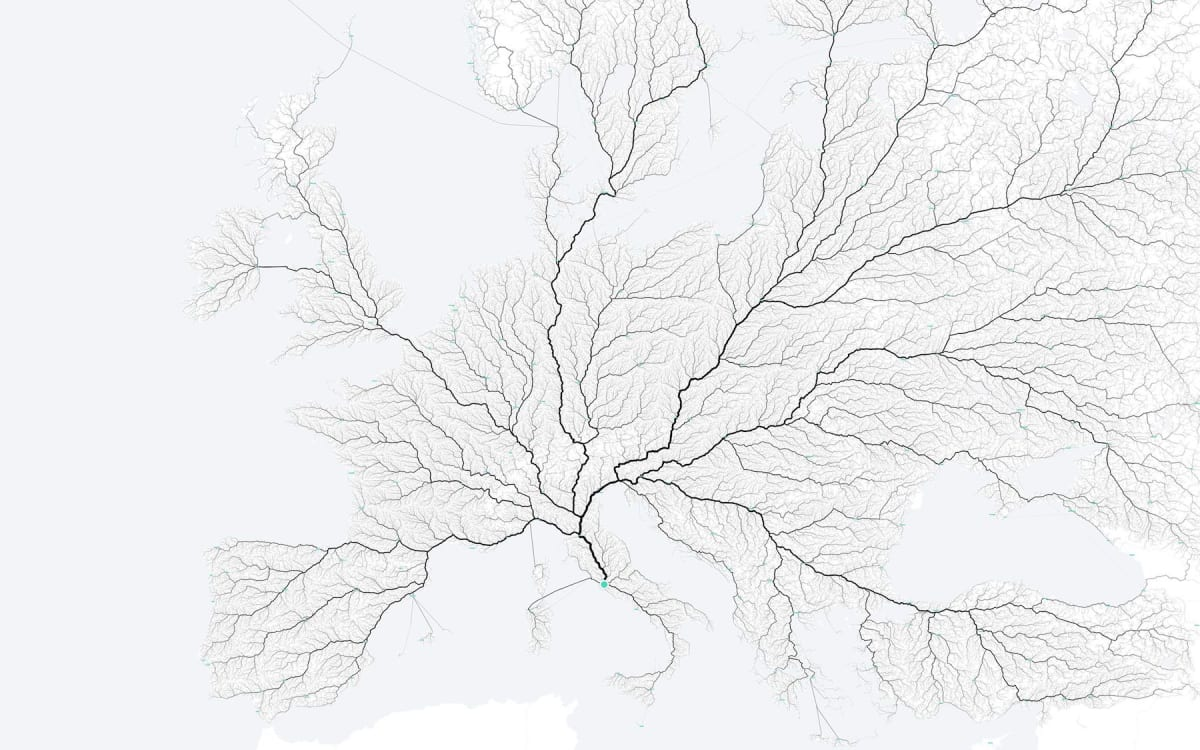 The moovellab's visualization of all roads leading to Rome