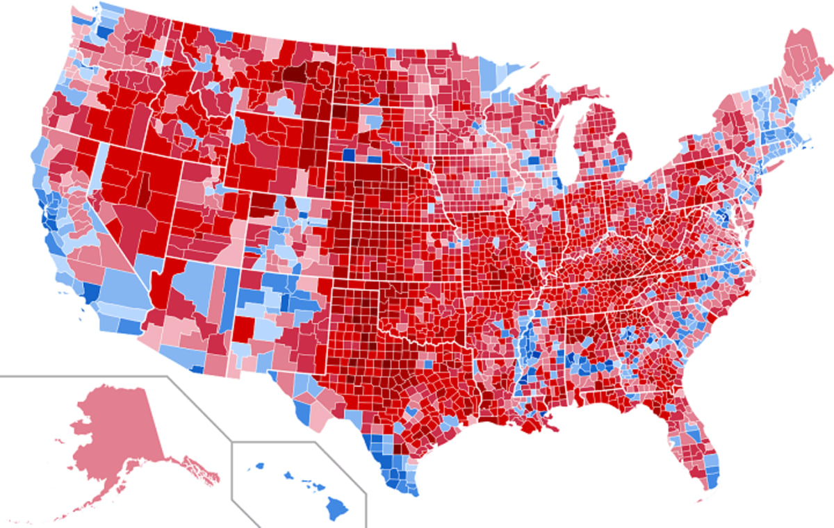 Tthe county level and vote share results of the 2016 US Presidential Election