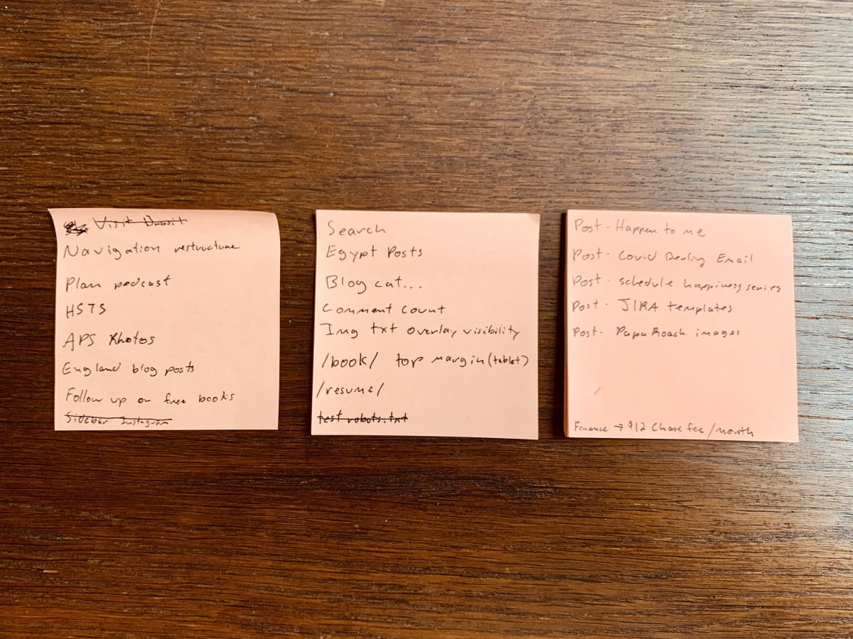 Three sticky notes with my to-do list