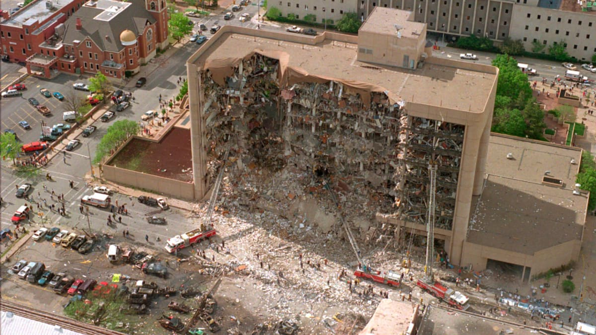 The north side of the Alfred Murrah Federal Building in Oklahoma City after the deadliest act of domestic terrorism in U.S. history.