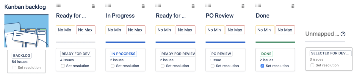 Column management settings in a Jira Kanban project