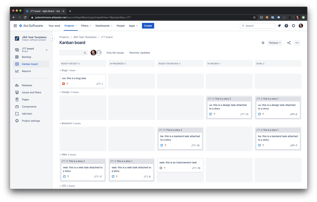 An example Jira Kanban board with columns and swimlanes