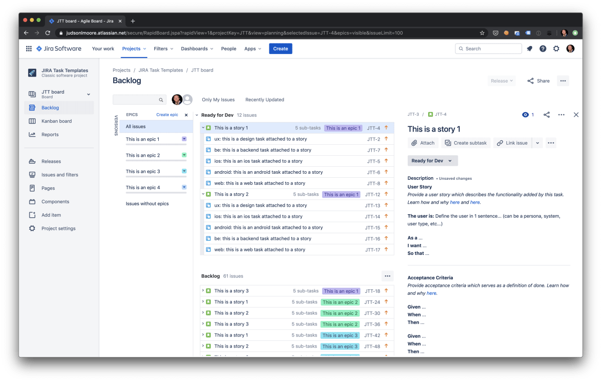 An example backlog in Jira with epics, stories, and subtasks being shown as ready for dev