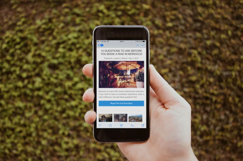 Mockup of newsletter on iPhone 7 Plus