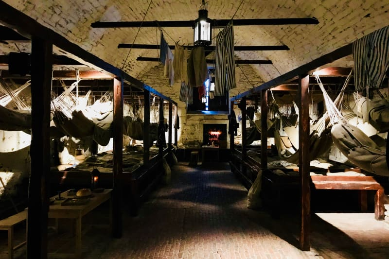 A photo of the sleeping conditions which prisoners of war held at Edinburgh Castle would have endured