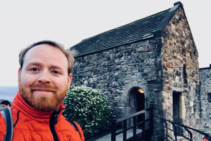 Judson taking a selfie in front of St Margaret's Chapel