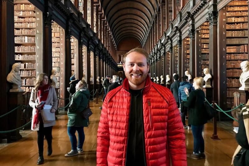 Judson stands in the great hall of the Book of Kells