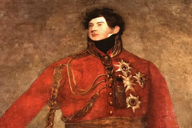 A royal man in red uniform is painted against a brown background