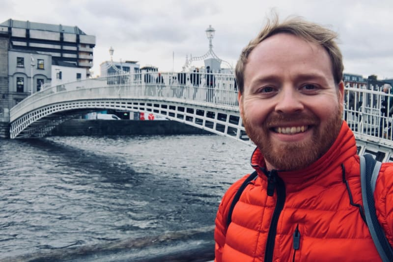 Judson stands in front of the Ha'penny Bridge