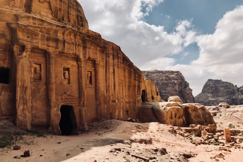 Facade of The Roman Soldier's Tomb on the High Place of Sacrifice Trail in Petra