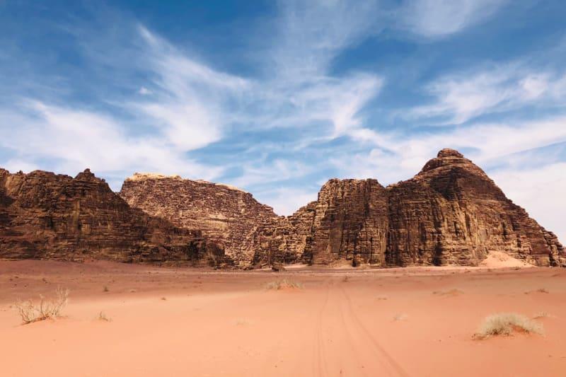 The Seven Pillars of Wisdom rock formation in Wadi Rum, Jordan