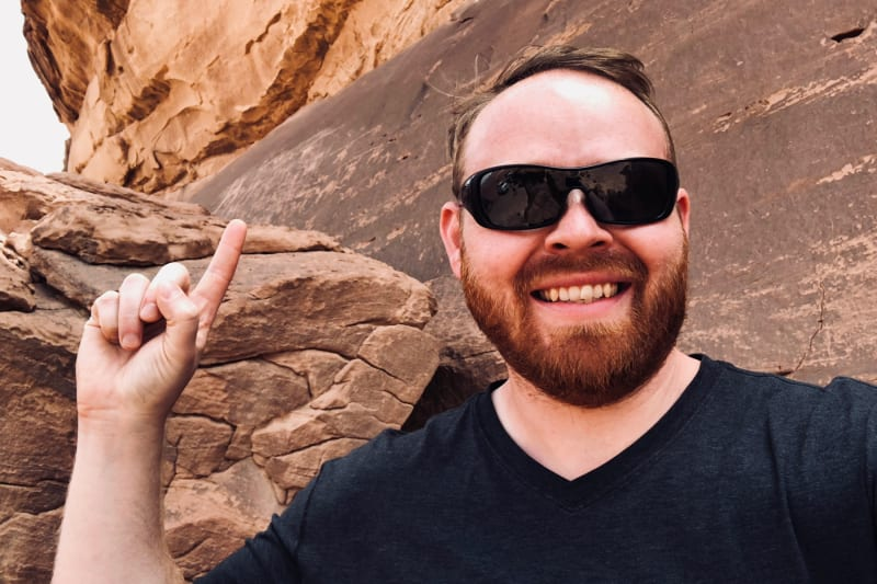 Judson points out the 12,000 year-old Petroglyphs and inscriptions in Wadi Rum.
