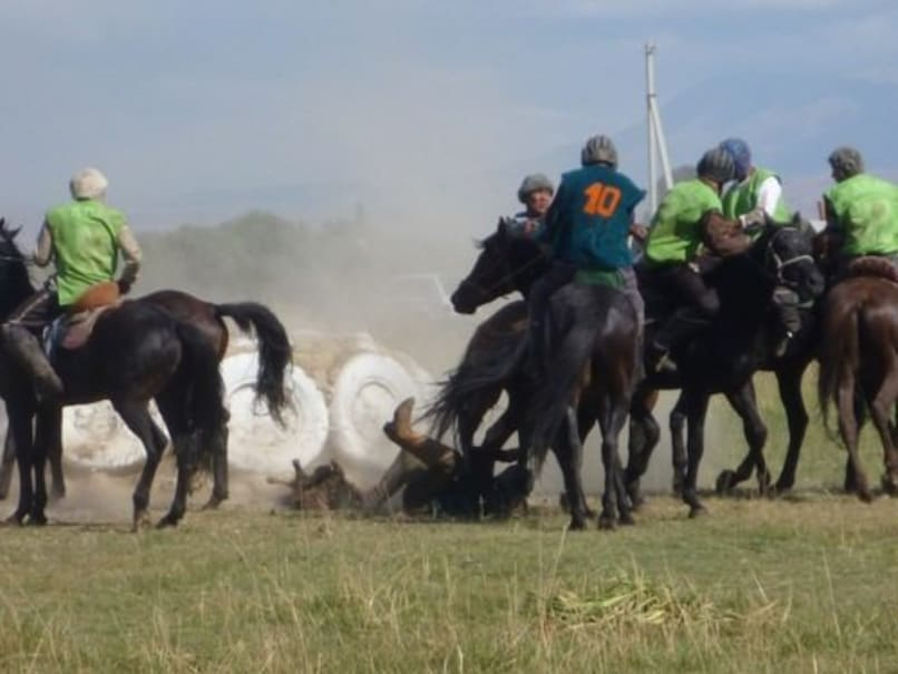A rider got knocked off his horse trying to reach for the sheep (at his feet) which fell short of the goal (the mound encircled by tires)