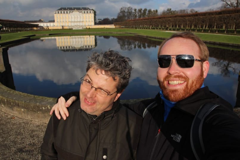My friend Mark and I in front of Augustusburg Palace in Brühl Germany