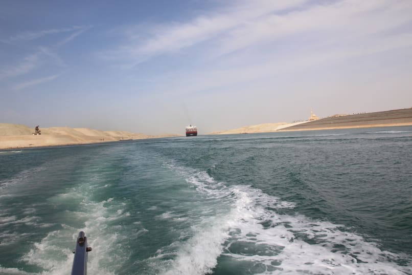 The wake of the yacht as an oil tanker chases us down the Suez Canal