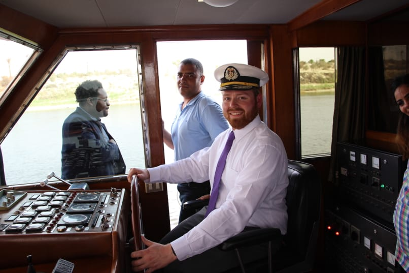 Judson drives the Egyptian Presidential Yacht on the Suez Canal