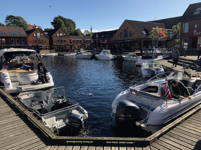 The harbor at the Kristiansand, Norway town center