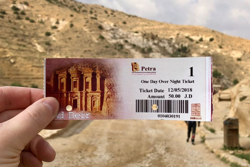 A 1-day ticket to Petra, taken at the entrance of the Siiq