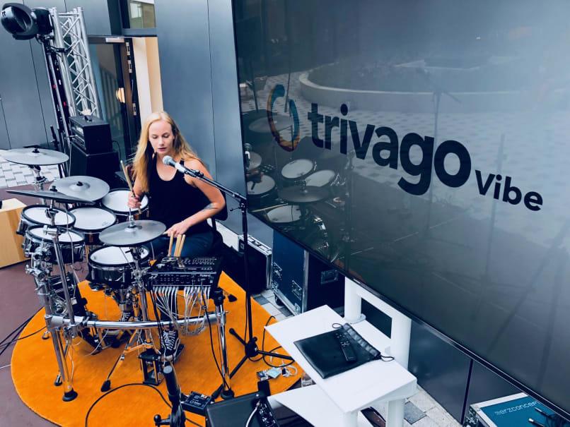 Janine (Avocadogate) sound checks on the Roland TD-30KV