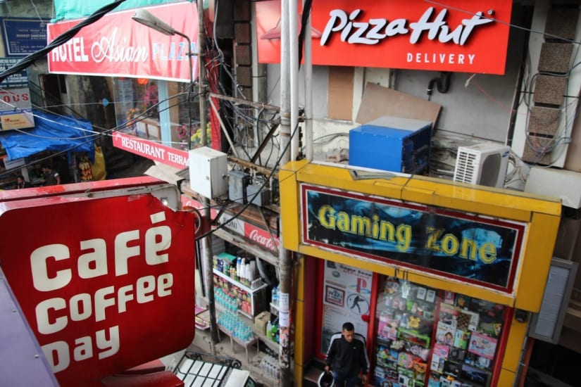 The shops at the center of Dharamshala India