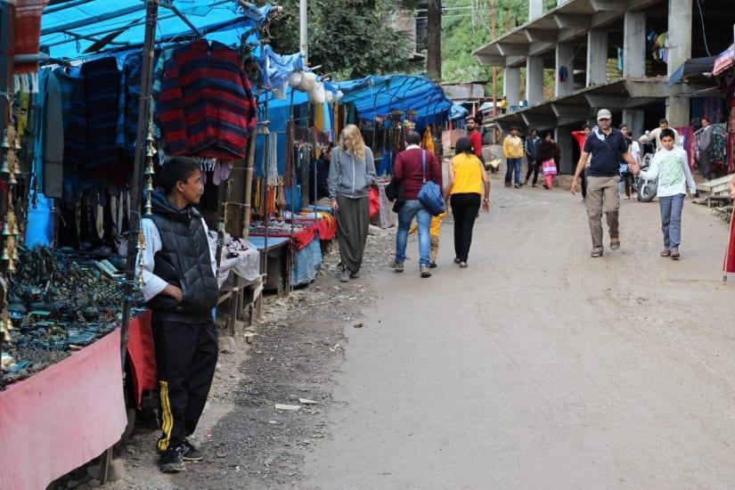Street vendors in front of the Dalai Lama's home in Dharamshala India