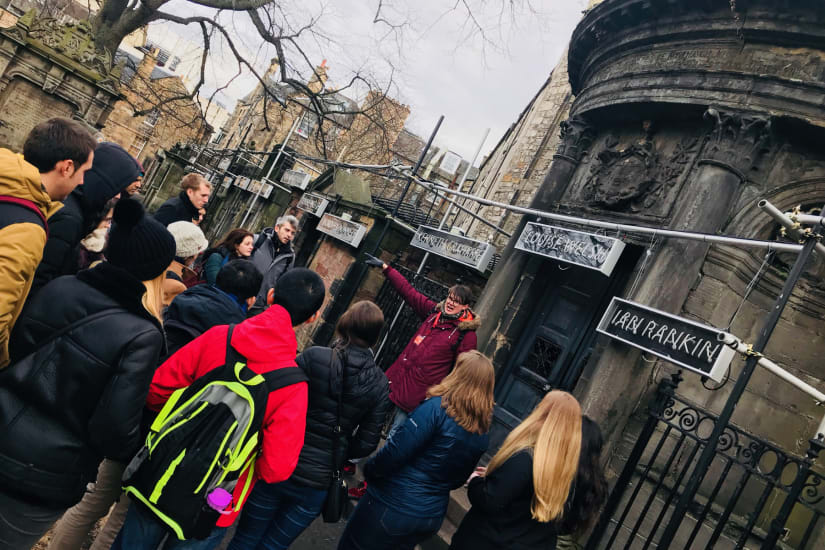 A photo of our tour group in front of Sir George McKenzie's tomb in the Greyfriars Kirkyard