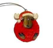 Pompom elg m/ nisselue rød BF