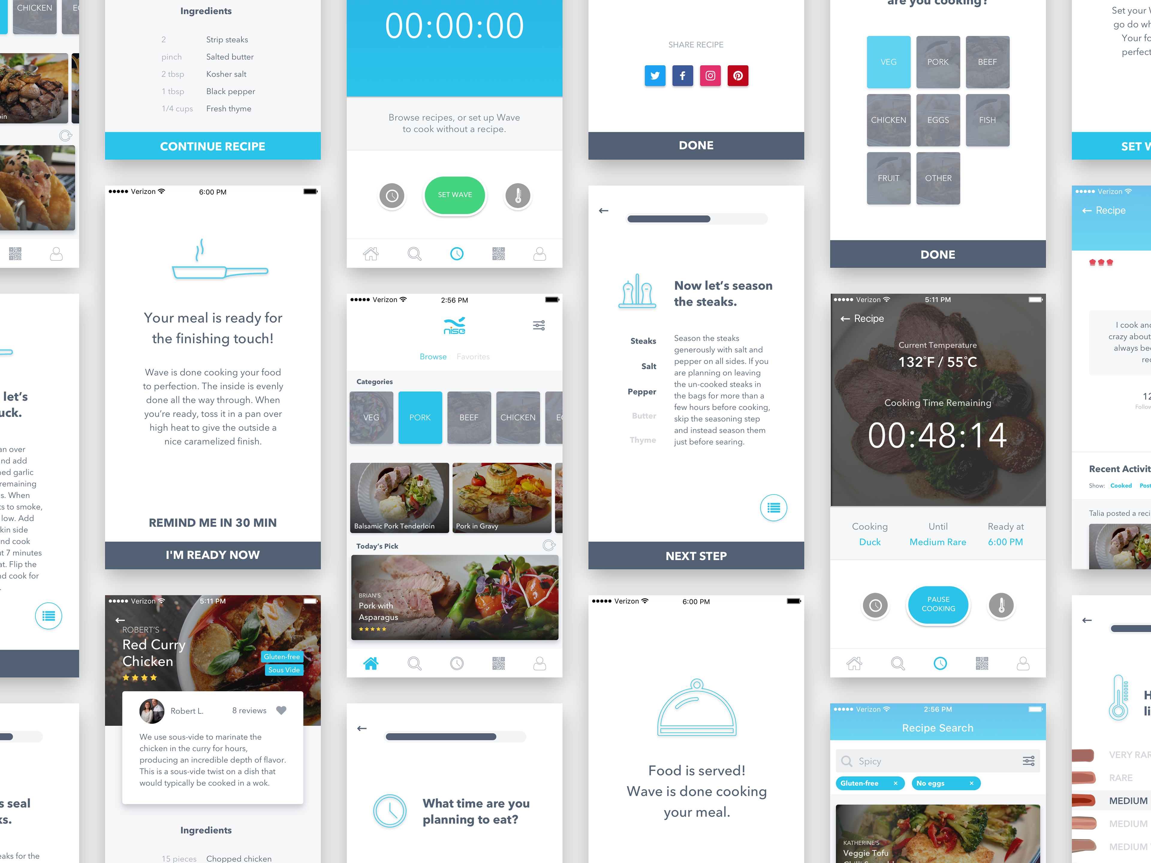 Spread showing many different screens of the app I designed for Nise Tech