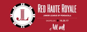 Logo for Junior League of Pensacola's fundraiser Red Haute Royal 2017 ALL IN