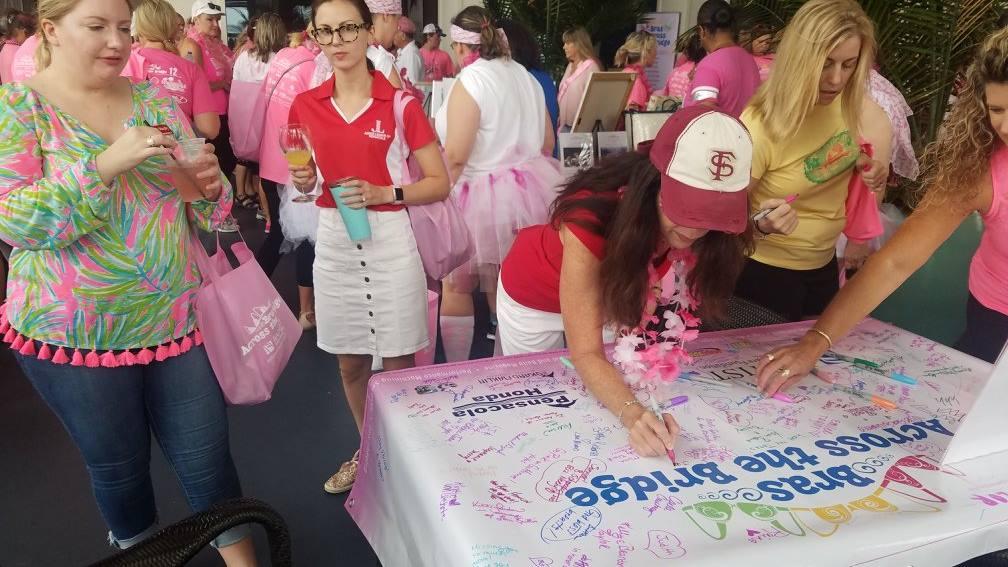 Bras Across the Bridge - Junior League of Pensacola donations and participation